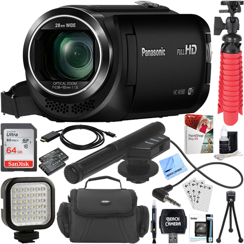 Panasonic HC-W580K Full HD Camcorder with Mini Zoom Microphone + 64GB Accessory Bundle