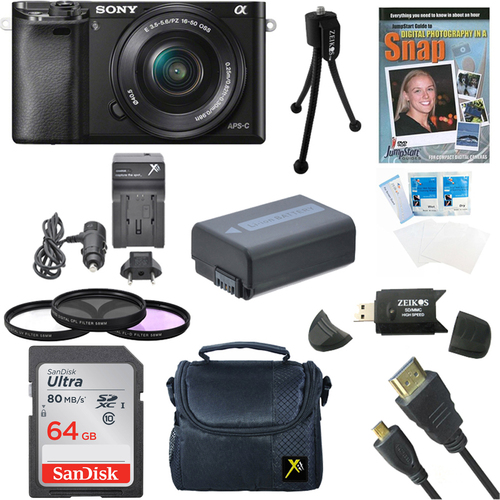 Sony Alpha a6000 24.3MP Camera with 16-50 Power Zoom Lens- 64GB Kit