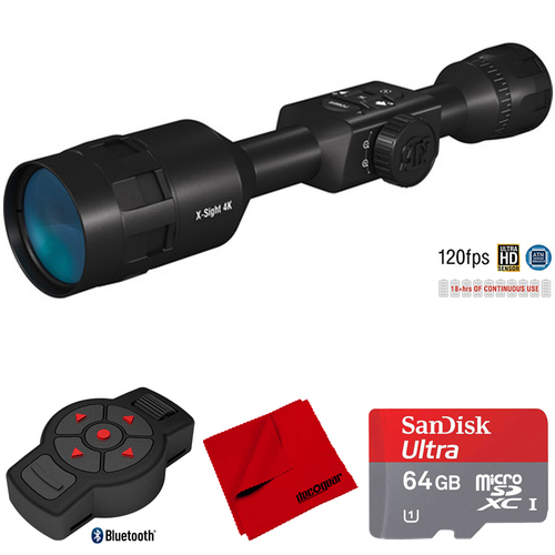 ATN X-Sight-4k, 3-14x, Smart Day/Night Rifle Scope w/ X-Trac Remote Bundle