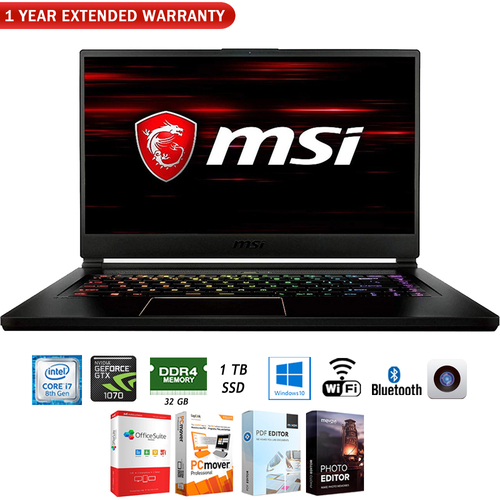 MSI 15.6` VR Ready Gaming Notebook - GS65068 + 1 Year Extended Warranty Pack