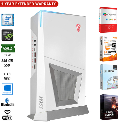MSI Trident 3 Arctic 8th Gaming Desktop Computer + 1 Year Extended Warranty Pack