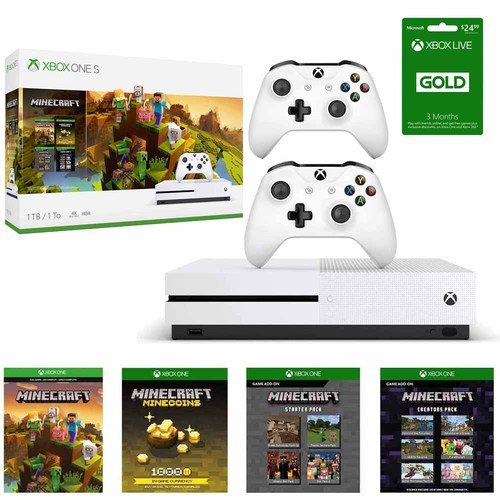 Microsoft Xbox One S 1 TB Minecraft Creators Bundle with Two Wireless Controllers and More