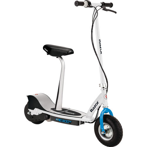 E300S Seated Electric Scooter in White & Blue