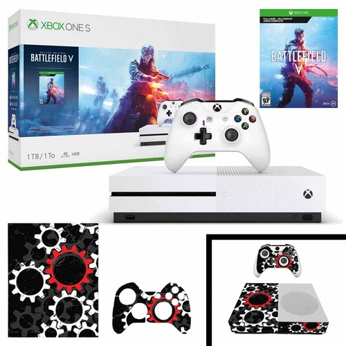 Microsoft Xbox One S 1 TB Battlefield V Bundle with Vinyl Skin Sticker Cover Decal