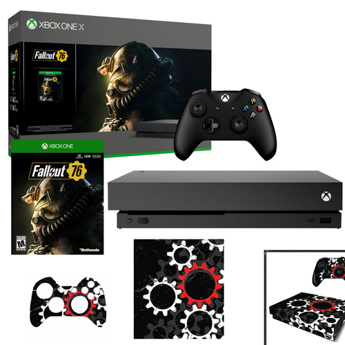 Microsoft Xbox One X 1 TB Fallout 76 Bundle w/ Vinyl Skin Sticker Cover Decals