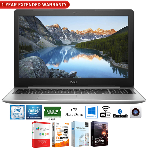 Dell Inspiron 15.6` Intel i5-8250U Notebook Laptop+1 Year Extended Warranty Pack