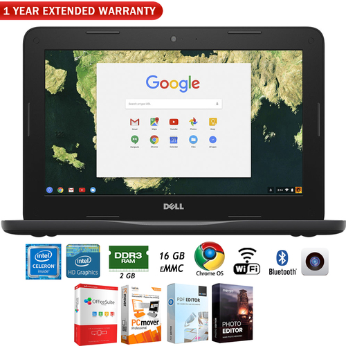 Dell Chromebook 11 3180 11.6` Traditional Laptop + 1 Year Extended Warranty Pack