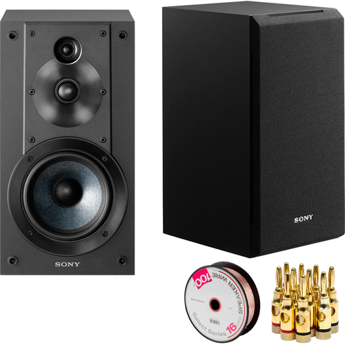 Sony 3-Way 3-Driver Bass Reflex Stereo Bookshelf Speakers + Speaker Wire Bundle