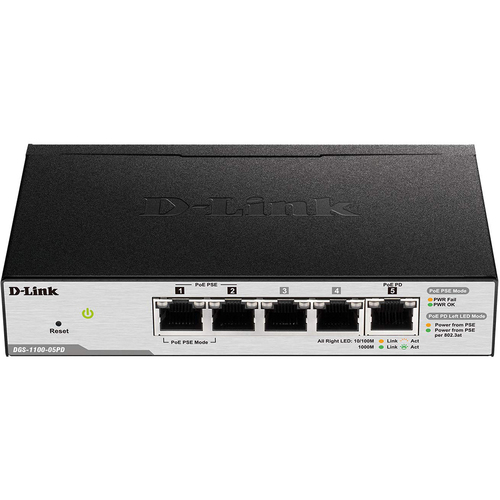 D-Link Series Smart Managed PoE Powered 5-Port Gigabit - DGS-1100-05PD