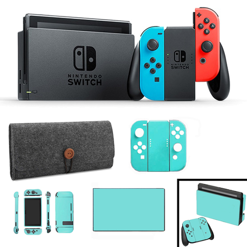 Nintendo Switch 32 GB Console with Joy-Con (Blue&Red) with Protective Sleeve & Blue Skin