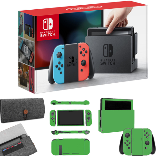 Nintendo Switch 32GB Neon Blue Red Joy Con&Protective Sleeve + Lime Skin Bundle