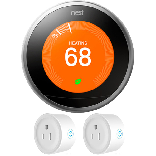 Google Nest Learning Thermostat 3rd Generation (Stainless Steel) w/ 2 Pack Wi-Fi Smart Plug