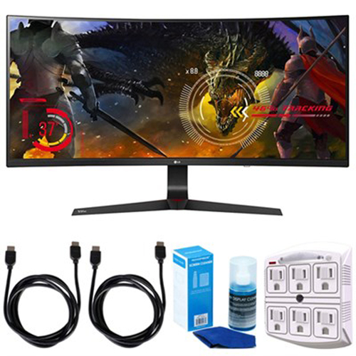 LG 34` Curved UltraWide WFHD IPS Display Gaming Monitor w/ Accessories Bundle