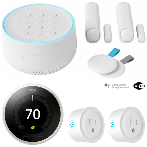 Google Nest Secure Alarm System Starter Pack (H1500ES) w/ Nest Thermostat Bundle
