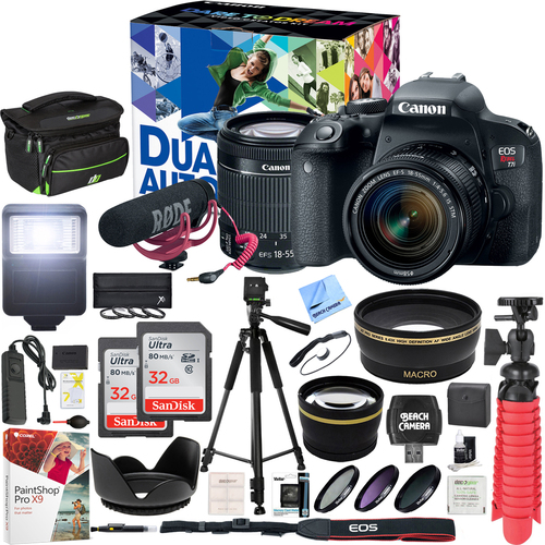 Canon  T7i EOS Rebel DSLR Camera Video Creator Kit w/ EF-S 18-55mm Lens 32GB x2 Bundle