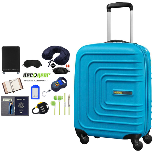 American Tourister 28` Sunset Cruise Hardside Spinner Luggage Blue + Traveling Bundle