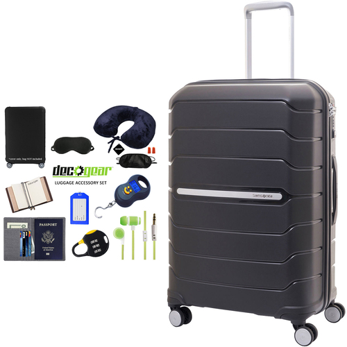 Samsonite Freeform 24` Hardside Spinner Luggage Black + Traveling Bundle