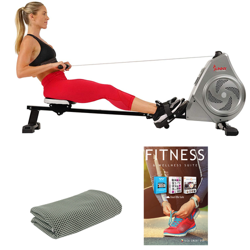 Sunny Health and Fitness SF-RW5728 Air Magnetic Rower with Tech Smart USA Fitness & Wellness Suite Bundle