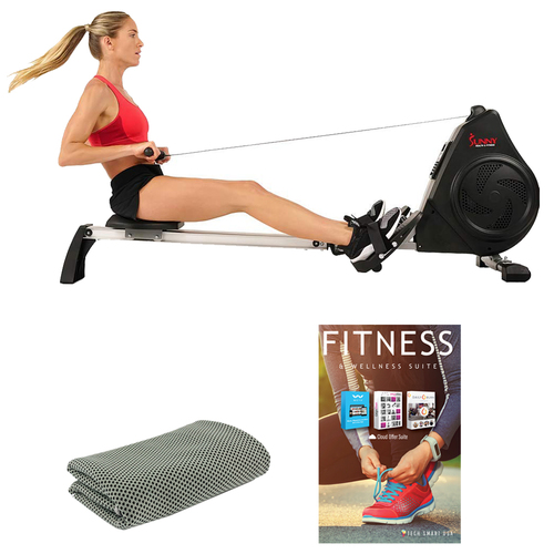 Sunny Health and Fitness SF-RW5730 Air Magnetic Rower with Tech Smart USA Fitness & Wellness Suite Bundle