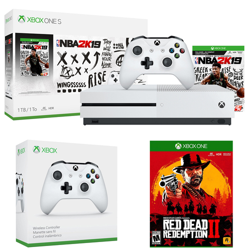 Microsoft Xbox One S 1TB w/ NBA 2K19 (234-00575) + Red Dead Redemption 2 Bundle