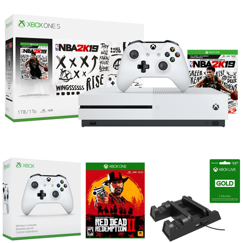 Microsoft Xbox One S 1TB with NBA 2K19 + Red Dead Redemption 2 Bundle