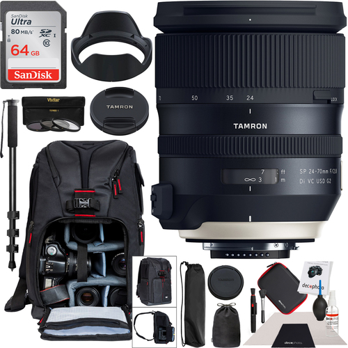 Tamron SP 24-70mm f/2.8 Di VC USD G2 Lens for Nikon F Mount Camera Pro Backpack Bundle