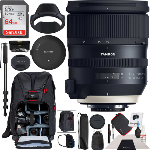 Tamron SP 24-70mm f/2.8 Di VC USD G2 Lens Canon EF Mount TAP-in Console Backpack Bundle