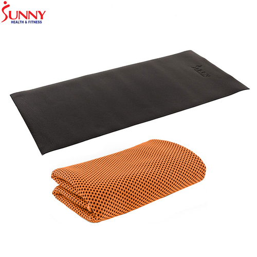 Sunny Health and Fitness 4' x 2' Fitness Equipment Floor Mat + Cooling Towel