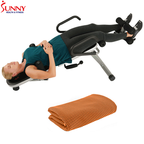 Sunny Health and Fitness Invert Extend N Go Back Stretcher Bench + Cooling Towel