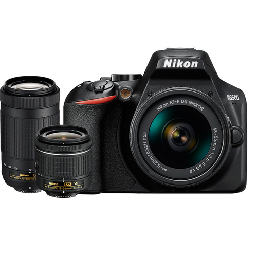 Nikon D3500 24.2MP DSLR Camera w/ 18-55mm VR & 70-300mm Dual Zoom 2 Lens Kit REFURB