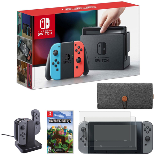 Nintendo Switch 32 GB Console w/ Neon Blue and Red Joy-Con + Minecraft Bundle