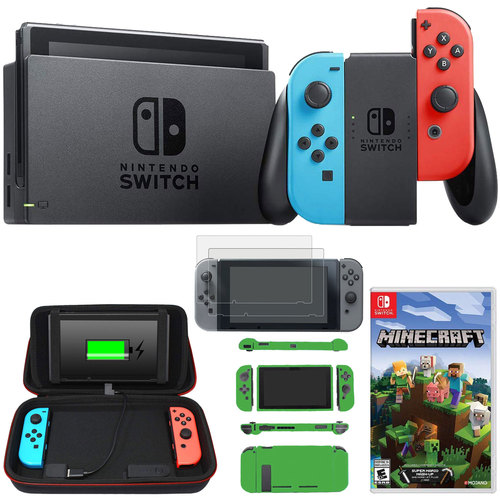 Nintendo Switch 32 GB Console with Neon Blue and Red Joy-Con + Minecraft and Case Bundle
