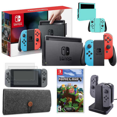 Nintendo Switch 32GB Console (Neon Blue&Red) with Minecraft, Charging Dock & More