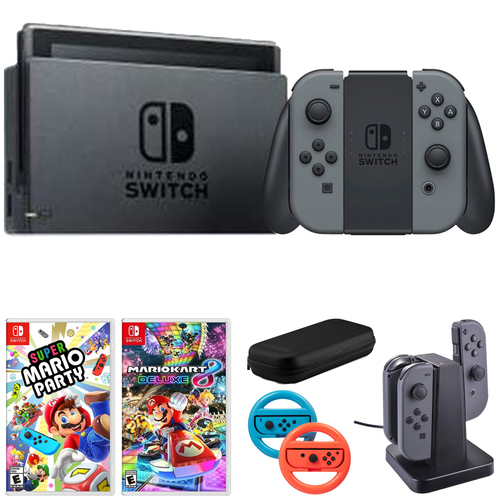 Nintendo Switch 32 GB Console w/Gray Joy Con + Super Mario Party & Accessories Bundle