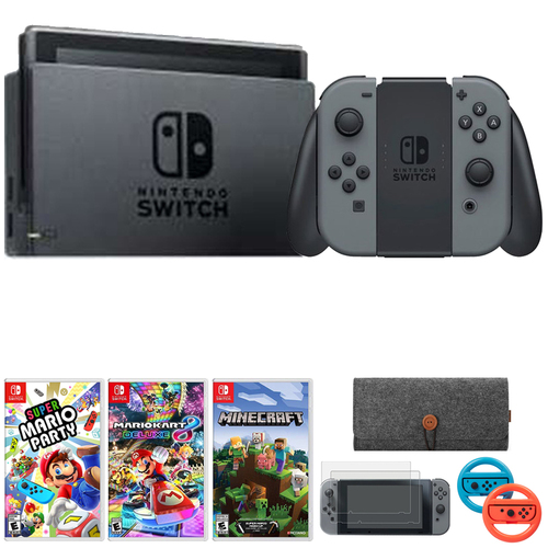 Nintendo Switch 32 GB Console w/ Gray Joy Con + Game & Accessories Bundle