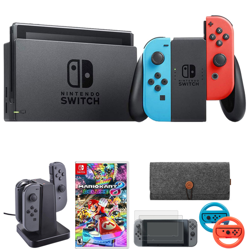 Nintendo Switch 32 GB Console w/ Neon Blue and Red Joy-Con + Mario Kart 8 Bundle