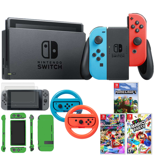 Nintendo Switch 32 GB Console, Neon Blue & Red Joy-Con + Super Mario Bundle Pack