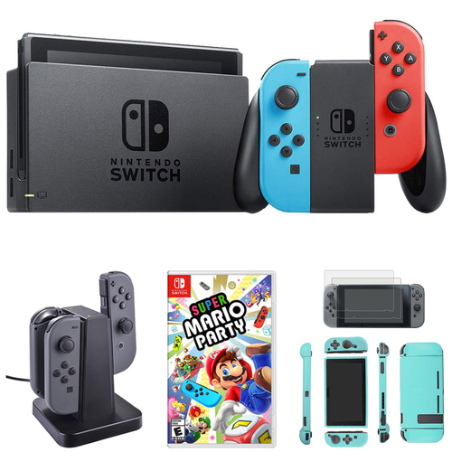 Nintendo Switch 32 GB Console w/ Neon Blue and Red Joy-Con + Super Mario Party Bundle