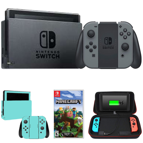 Nintendo Switch 32 GB Console w/ Gray Joy Con + Minecraft and Accessories Bundle
