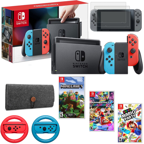 Nintendo Switch 32GB Console(Neon Blue&Red), Mario Kart 8, Minecraft & More