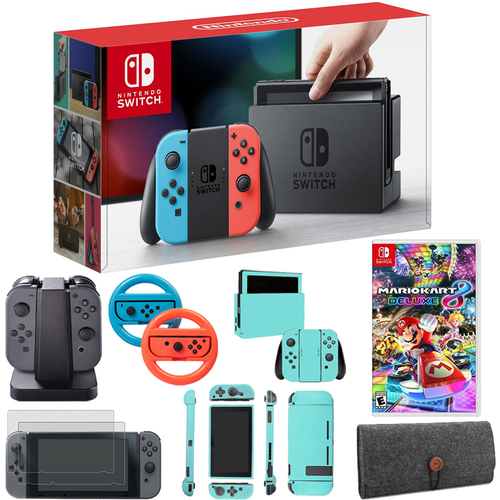 Nintendo Switch Console With Red Blue Joy Con Mario Kart 8
