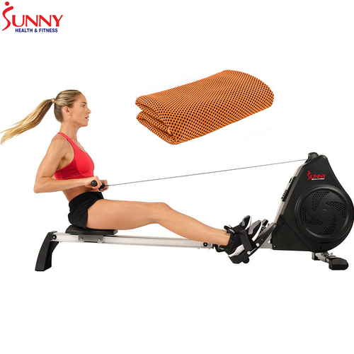 Sunny Health and Fitness Air Magnetic Rower with LCD Monitor + Cooling Towel