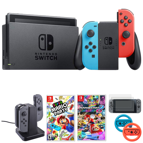 Nintendo Switch 32 GB Console w/ Neon Blue and Red Joy-Con + Gaming & Accessories Bundle
