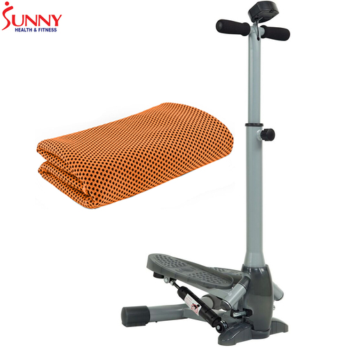 Sunny Health and Fitness Twist-In Stepper Step Machine + Cooling Towel