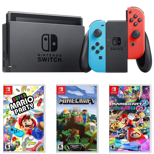 Nintendo Switch 32 GB Console w/ Neon Blue and Red Joy-Con + Gaming Bundle