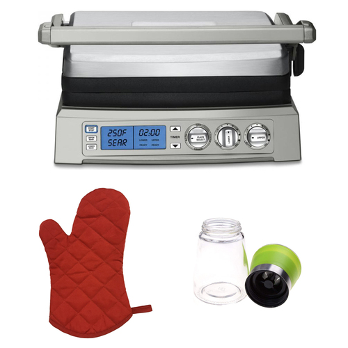 Cuisinart GR-300 Elite Griddler (Stainless Steel) w/ Red Oven Mitt and Spice Mill