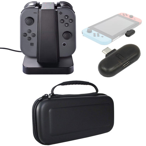 Deco Gear Nintendo Switch Accessory Kit with Bluetooth Adapter, Case, and Charging Dock