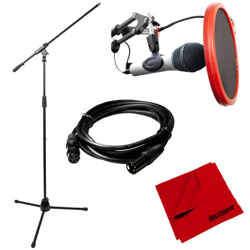 Deco Mount Professional Tripod Microphone Stand with Boom Arm+Pop Filter+XLR Kit