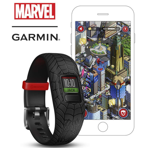 Garmin Vivofit jr. 2 - Activity Tracker for Kids - Black Adjustable Spiderman Band