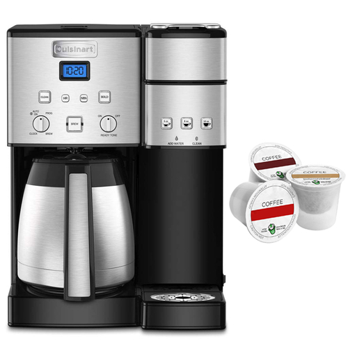Cuisinart 10-Cup Thermal Single-Serve Brewer Coffeemaker Silver + K Cup